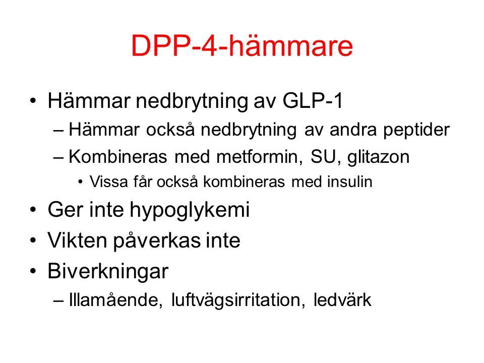 DPP-4-hämmare Hämmar nedbrytning av GLP-1 Ger inte hypoglykemi
