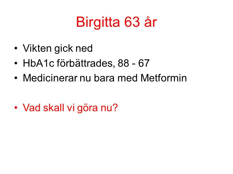 Birgitta 63 år Vikten gick ned HbA1c förbättrades, 88 - 67