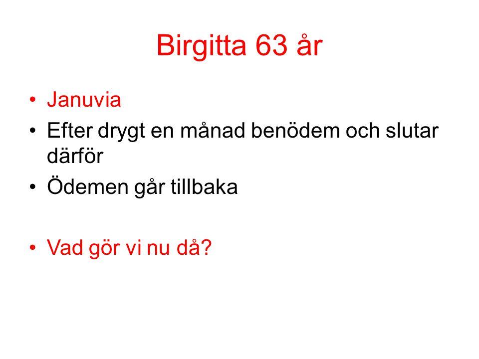Birgitta 63 år Januvia Efter drygt en månad benödem och slutar därför