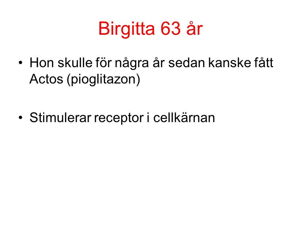 Birgitta 63 år Hon skulle för några år sedan kanske fått Actos (pioglitazon) Stimulerar receptor i cellkärnan.