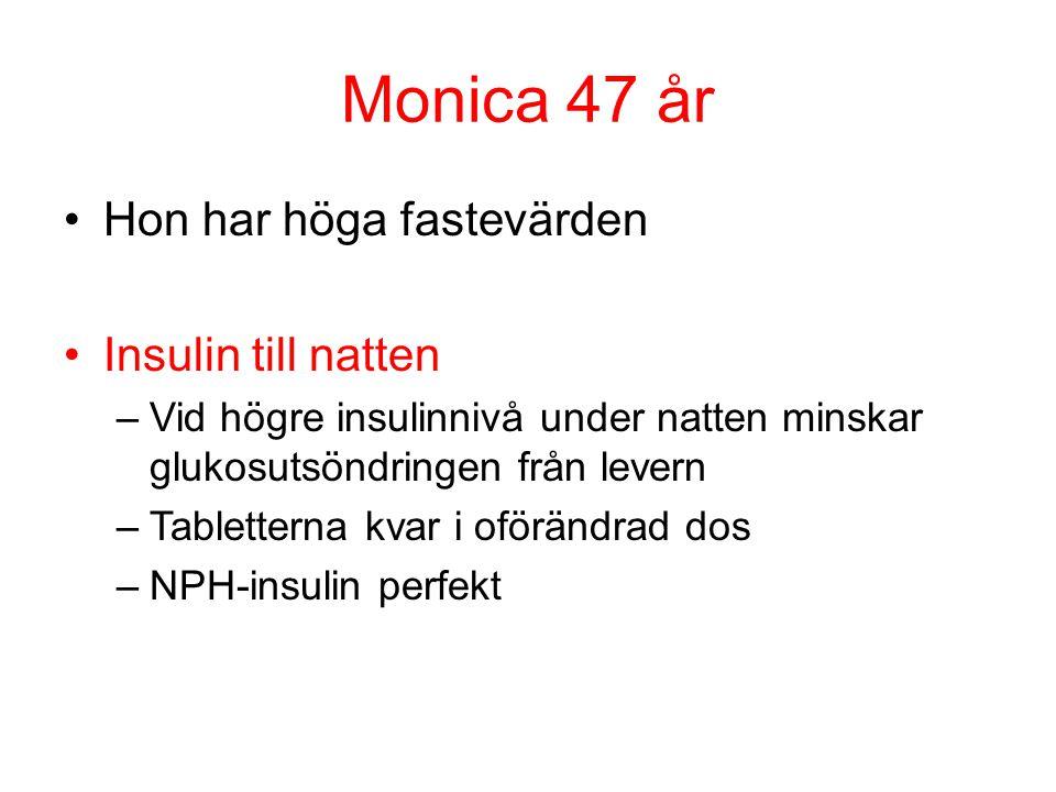 Monica 47 år Hon har höga fastevärden Insulin till natten