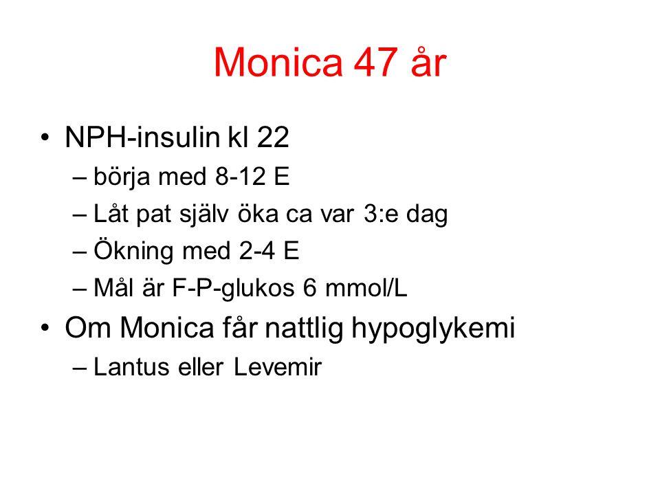 Monica 47 år NPH-insulin kl 22 Om Monica får nattlig hypoglykemi