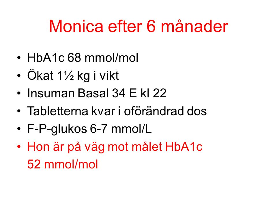 Monica efter 6 månader HbA1c 68 mmol/mol Ökat 1½ kg i vikt