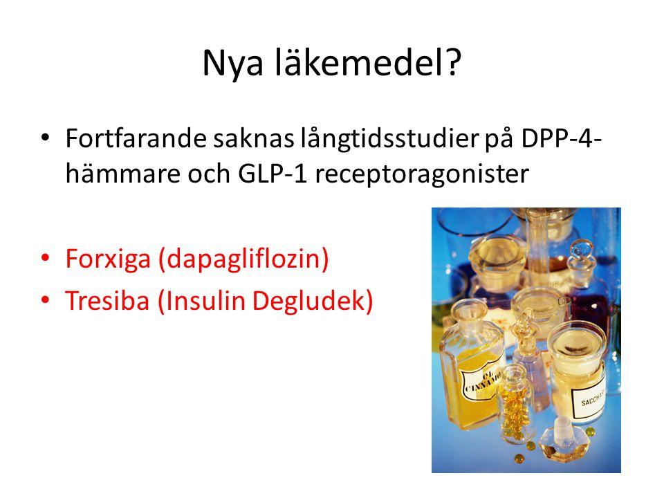 Nya läkemedel Fortfarande saknas långtidsstudier på DPP-4-hämmare och GLP-1 receptoragonister. Forxiga (dapagliflozin)