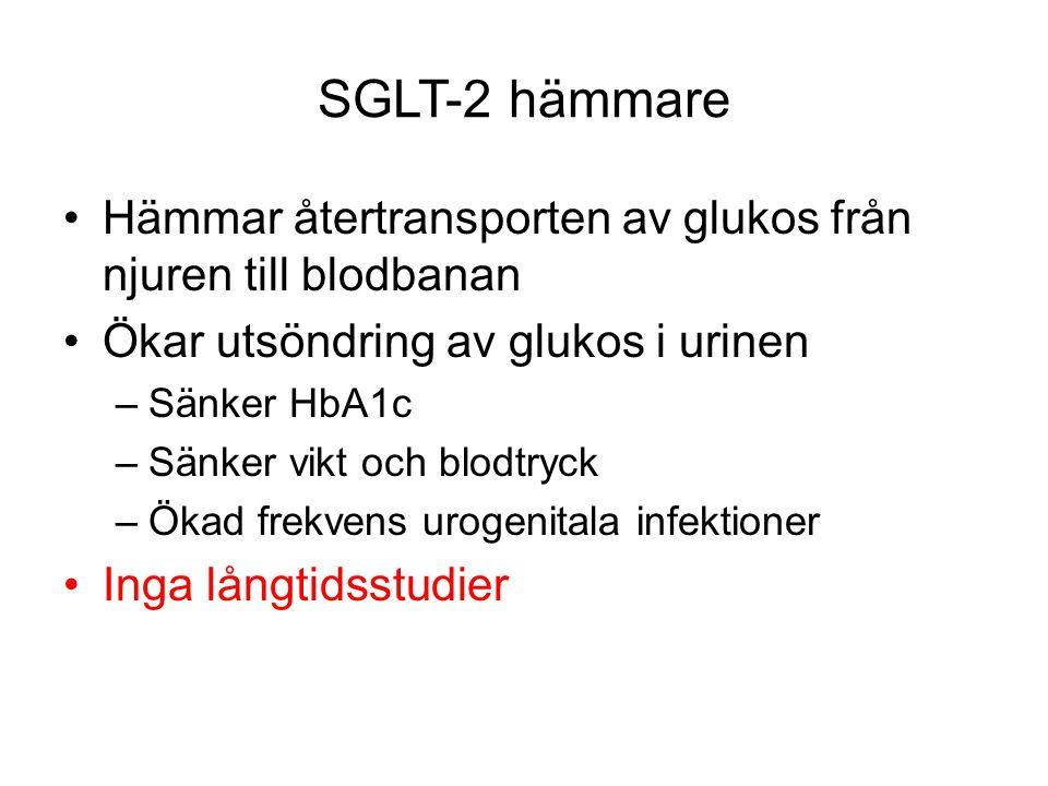 SGLT-2 hämmare Hämmar återtransporten av glukos från njuren till blodbanan. Ökar utsöndring av glukos i urinen.