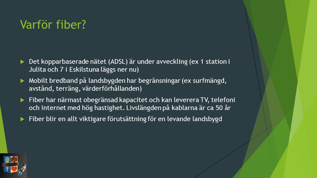 Varför fiber Det kopparbaserade nätet (ADSL) är under avveckling (ex 1 station i Julita och 7 i Eskilstuna läggs ner nu)
