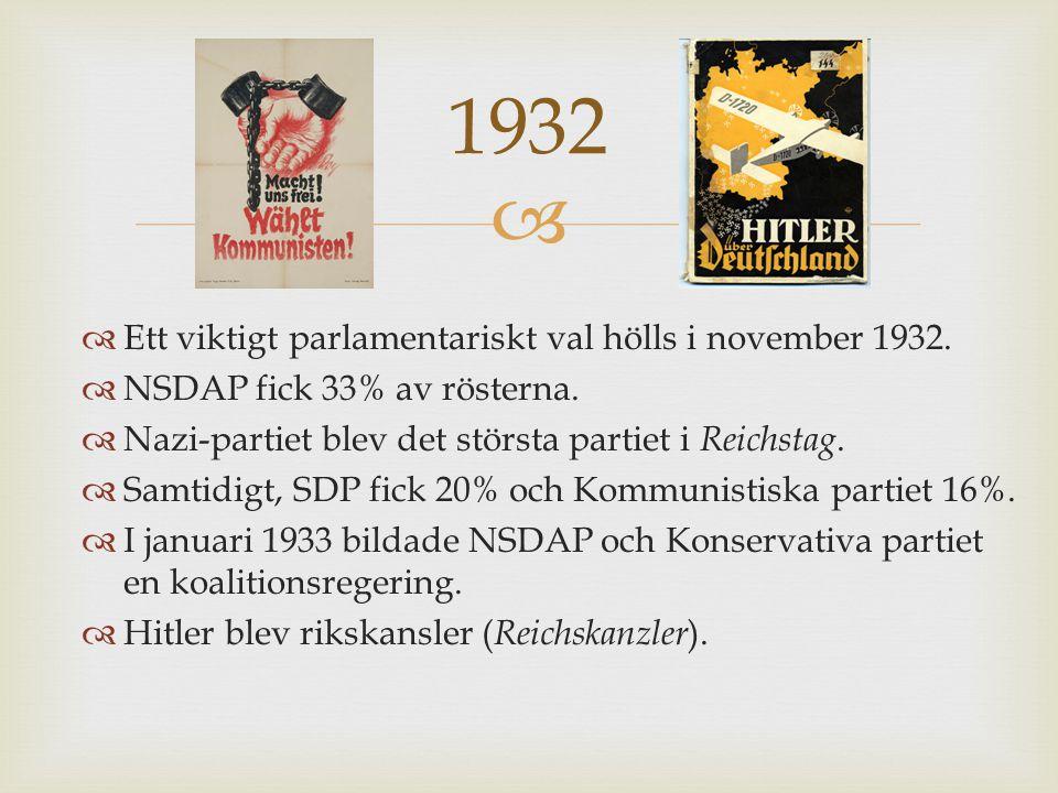 1932 Ett viktigt parlamentariskt val hölls i november 1932.