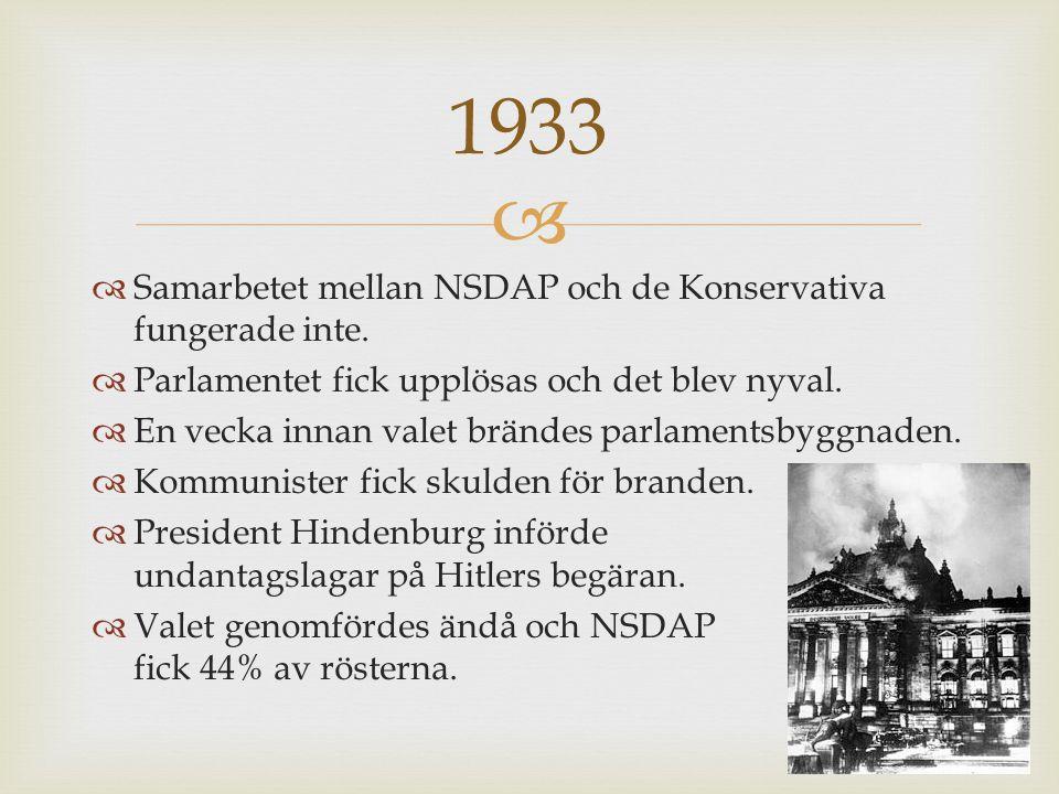 1933 Samarbetet mellan NSDAP och de Konservativa fungerade inte.