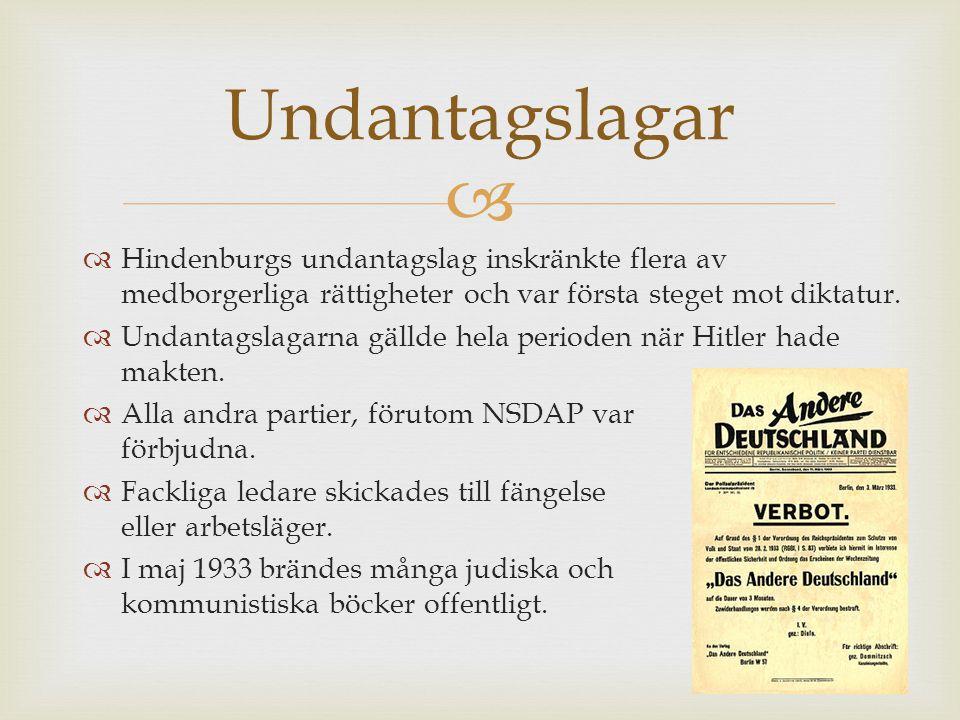 Undantagslagar Hindenburgs undantagslag inskränkte flera av medborgerliga rättigheter och var första steget mot diktatur.