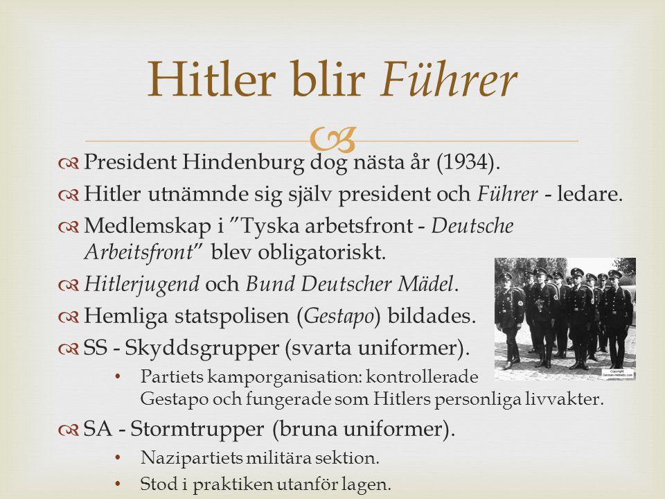 Hitler blir Führer President Hindenburg dog nästa år (1934).