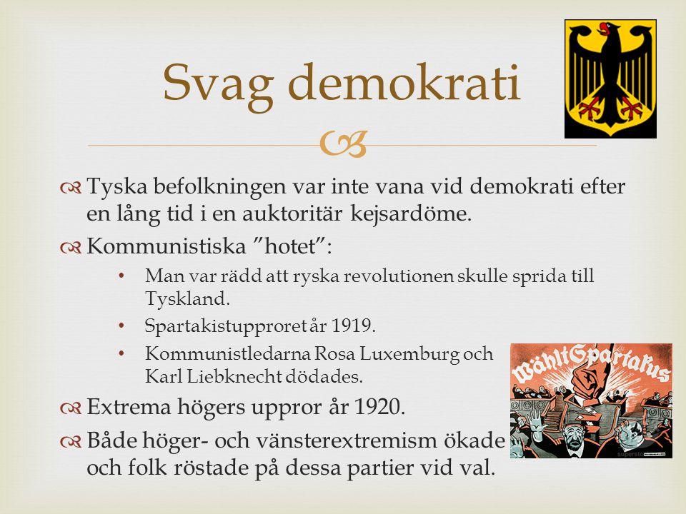 Svag demokrati Tyska befolkningen var inte vana vid demokrati efter en lång tid i en auktoritär kejsardöme.