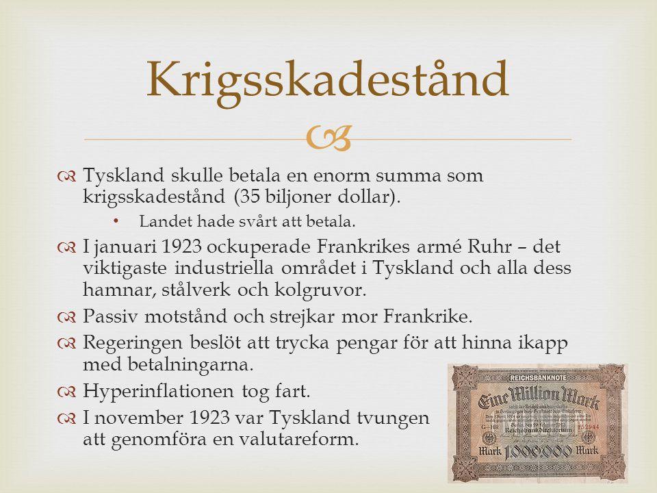 Krigsskadestånd Tyskland skulle betala en enorm summa som krigsskadestånd (35 biljoner dollar). Landet hade svårt att betala.