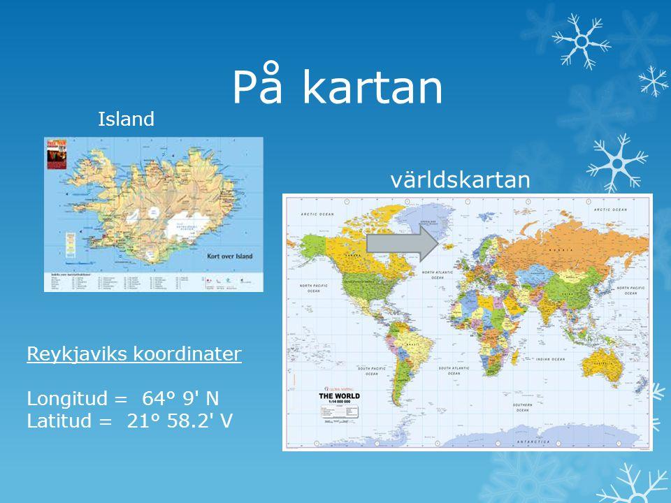 På kartan världskartan Island Reykjaviks koordinater
