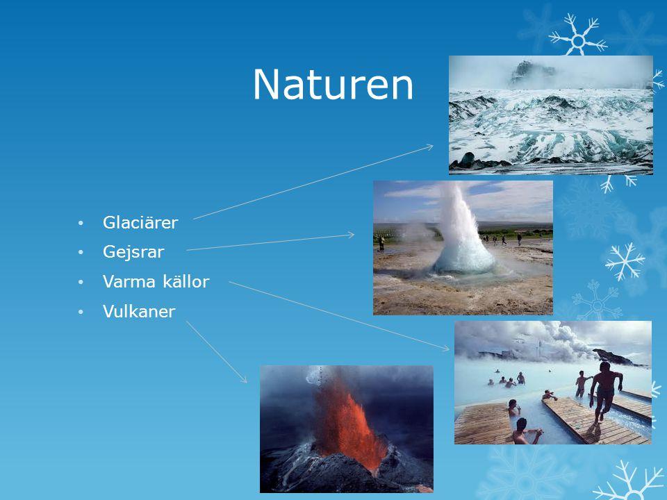 Naturen Glaciärer Gejsrar Varma källor Vulkaner