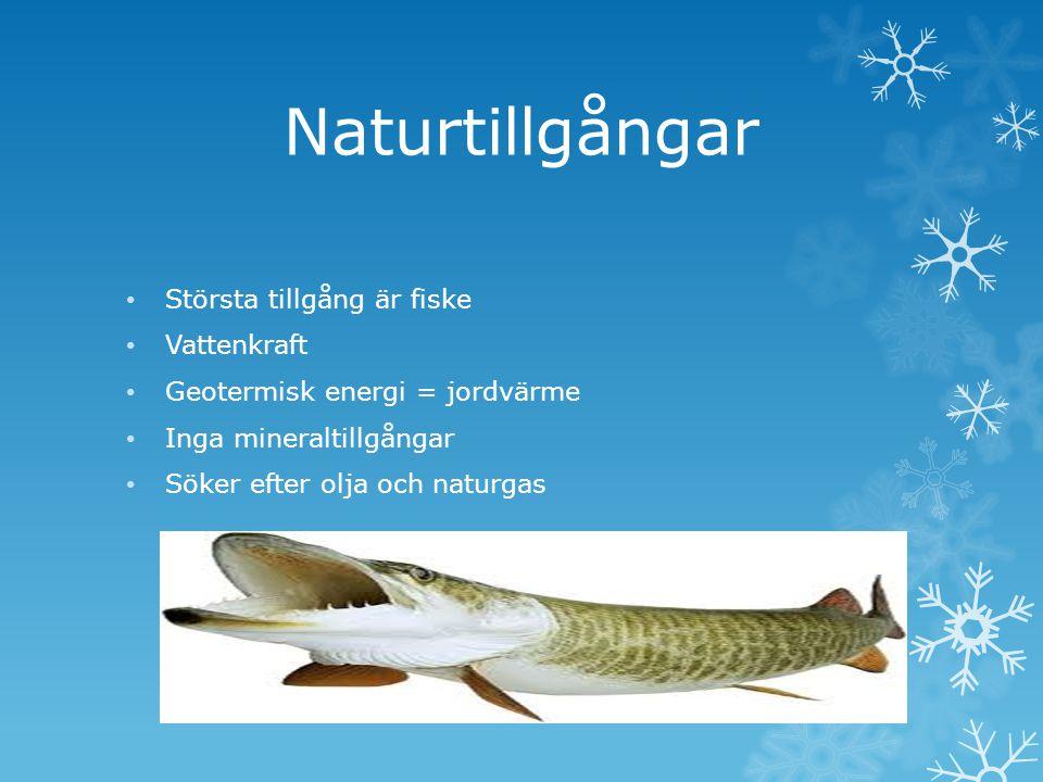 Naturtillgångar Största tillgång är fiske Vattenkraft