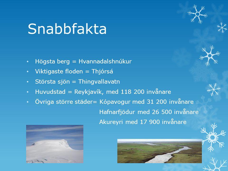 Snabbfakta Högsta berg = Hvannadalshnúkur Viktigaste floden = Thjórsá