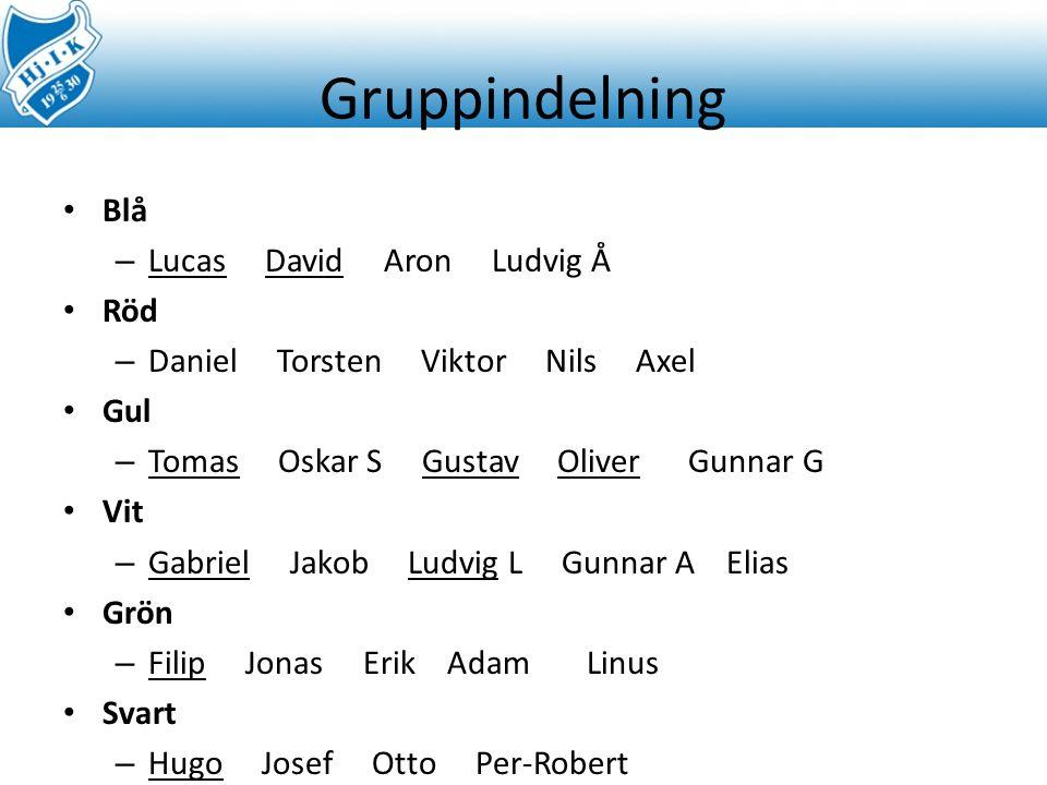 Gruppindelning Blå Lucas David Aron Ludvig Å Röd