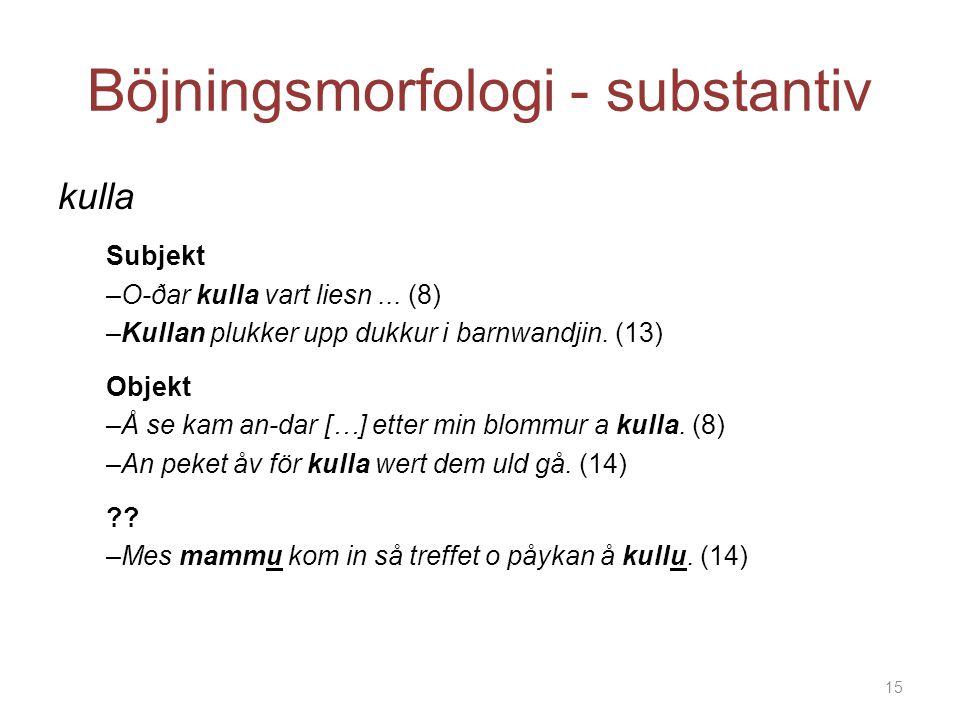 Böjningsmorfologi - substantiv