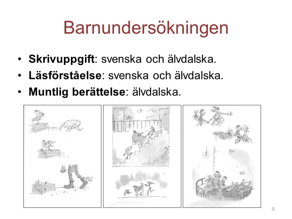 Barnundersökningen Skrivuppgift: svenska och älvdalska.