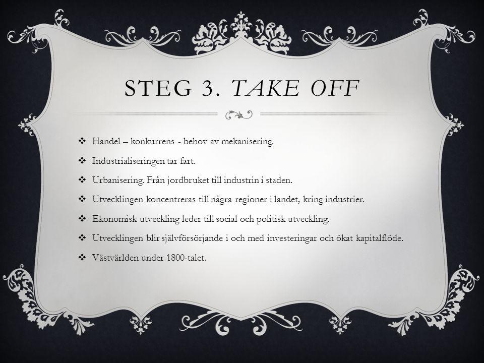 Steg 3. Take off Handel – konkurrens - behov av mekanisering.