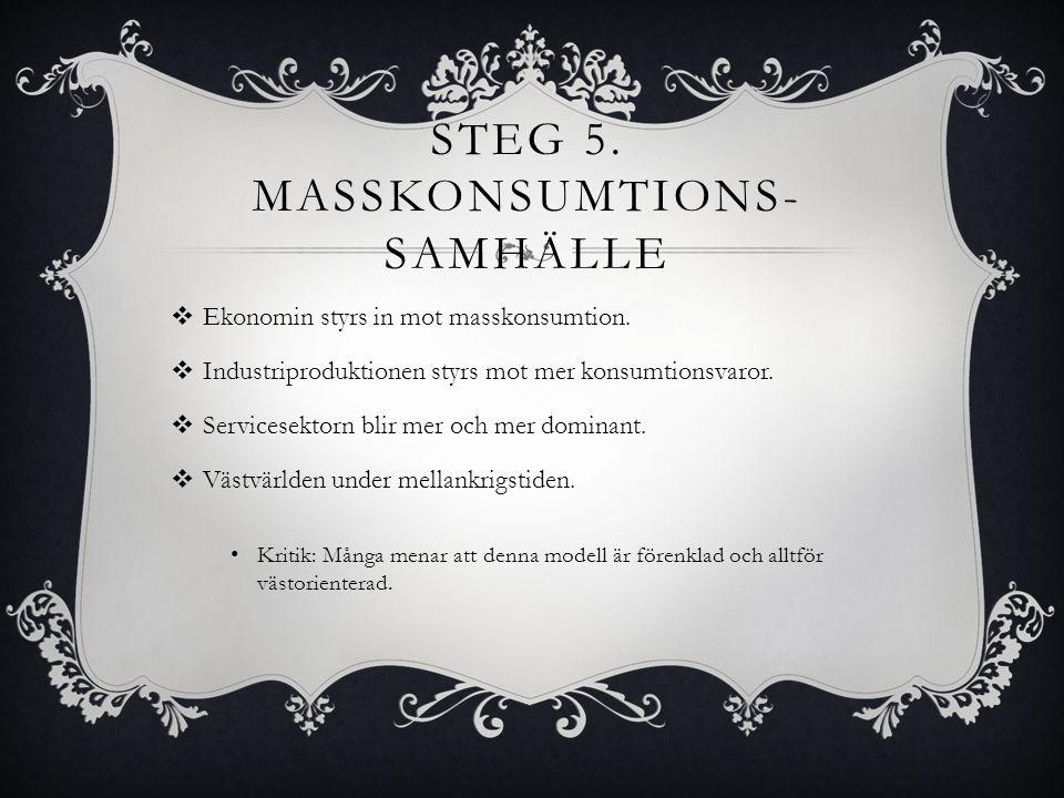 Steg 5. Masskonsumtions-samhälle