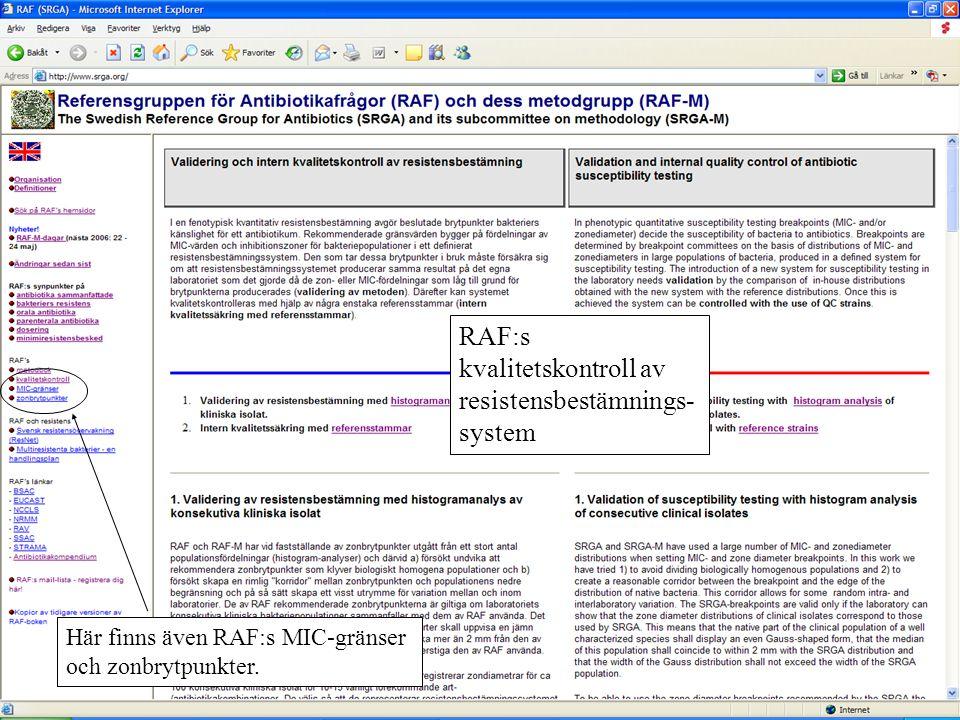 RAF:s kvalitetskontroll av resistensbestämnings-system
