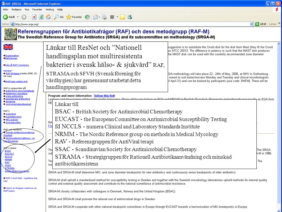 Länkar till ResNet och Nationell handlingsplan mot multiresistenta bakterier i svensk hälso- & sjukvård RAF, STRAMA och SFVH (Svensk förening för vårdhygien) har gemensamt utarbetat detta handlingsprogram