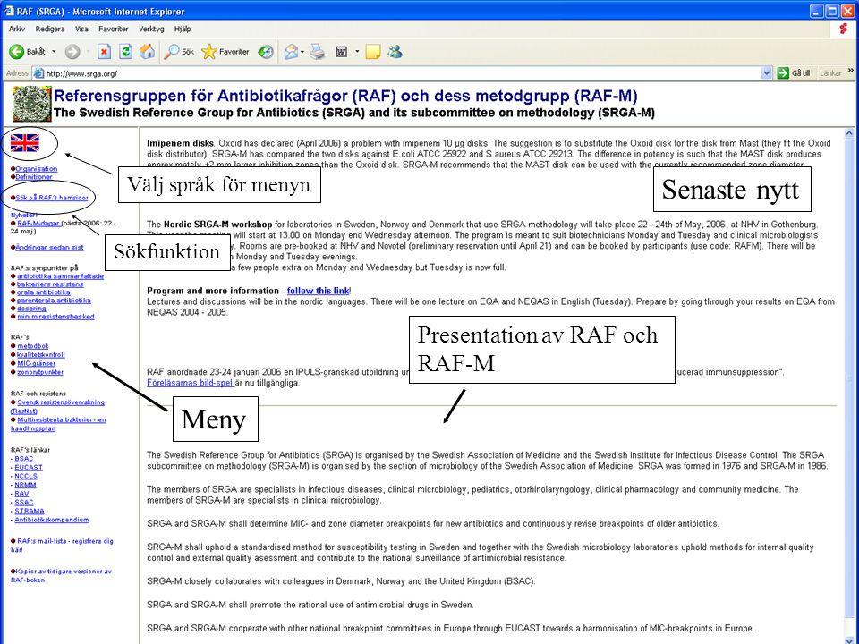 Senaste nytt Meny Presentation av RAF och RAF-M Välj språk för menyn
