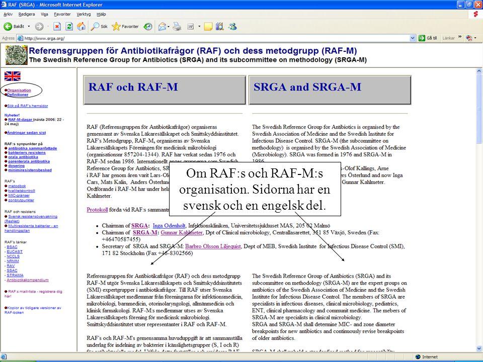 Om RAF:s och RAF-M:s organisation