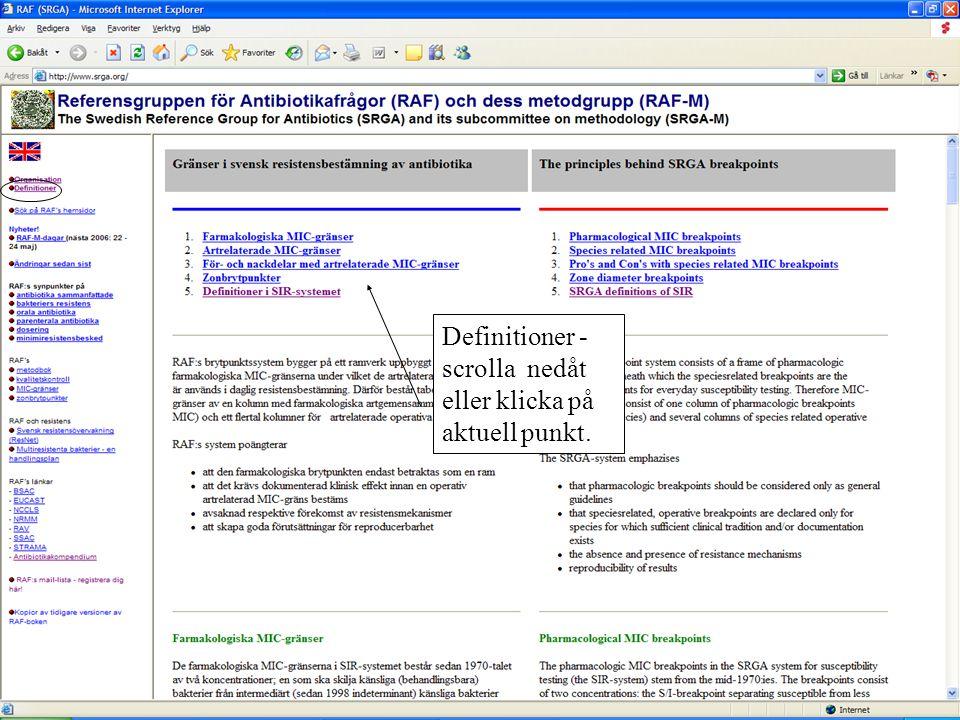 Definitioner - scrolla nedåt eller klicka på aktuell punkt.