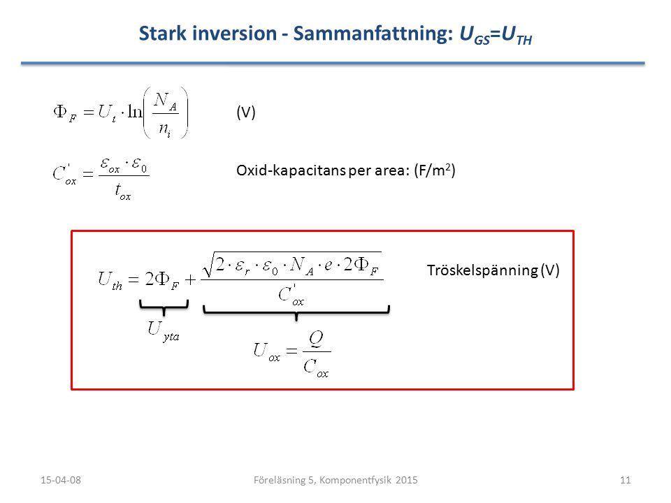 Stark inversion - Sammanfattning: UGS=UTH