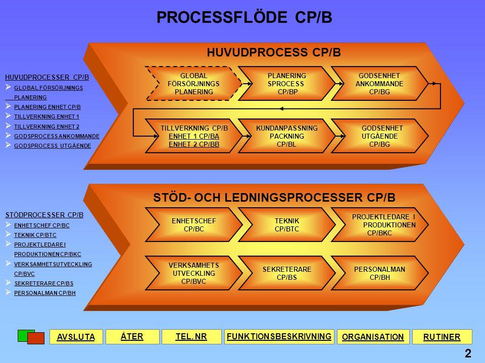 STÖD- OCH LEDNINGSPROCESSER CP/B FUNKTIONSBESKRIVNING