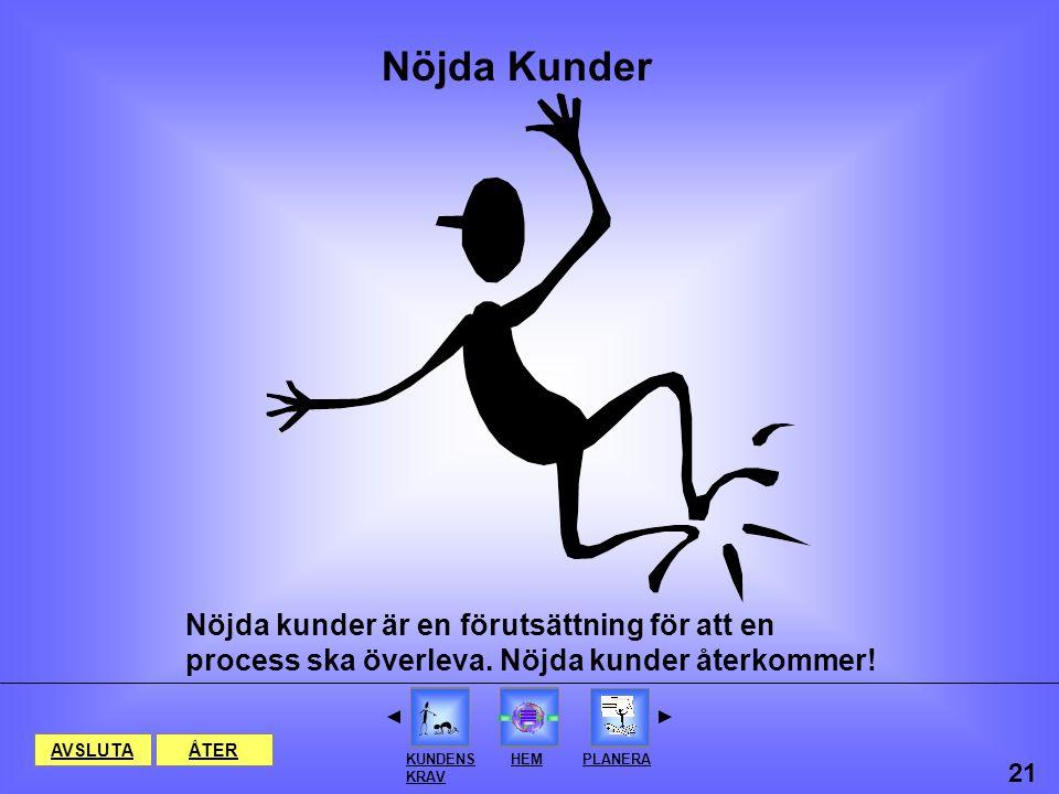 Nöjda Kunder Nöjda kunder är en förutsättning för att en process ska överleva. Nöjda kunder återkommer!