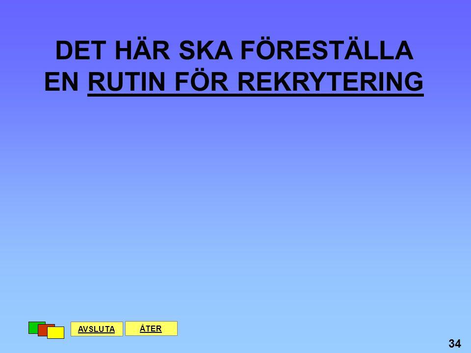 DET HÄR SKA FÖRESTÄLLA EN RUTIN FÖR REKRYTERING