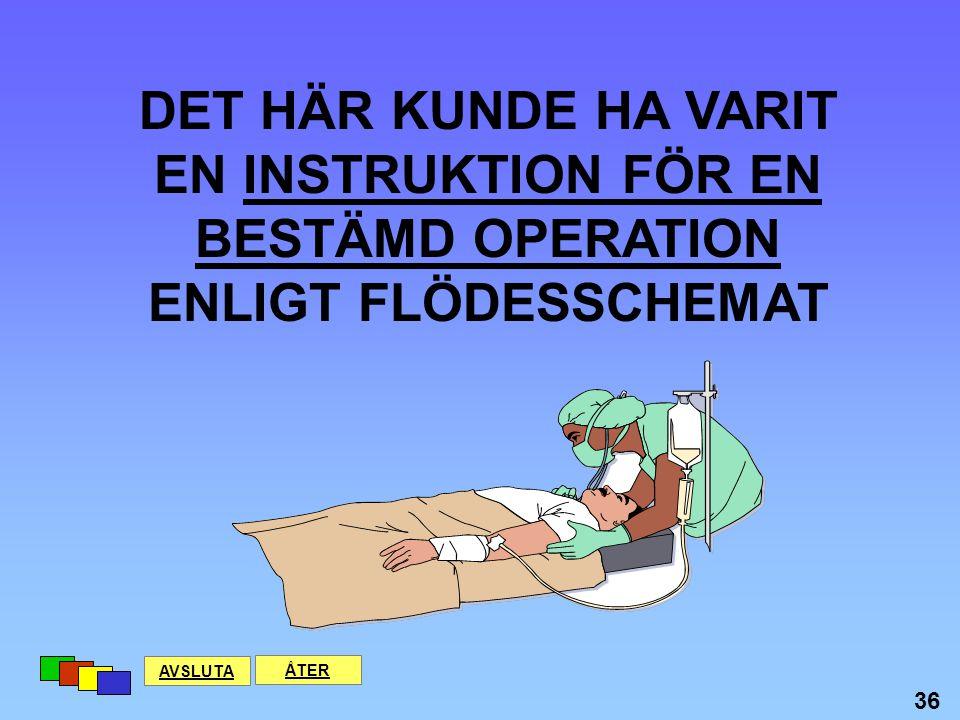 EN INSTRUKTION FÖR EN BESTÄMD OPERATION ENLIGT FLÖDESSCHEMAT