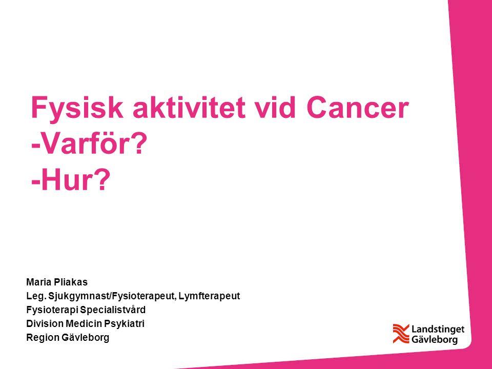 Fysisk aktivitet vid Cancer -Varför -Hur