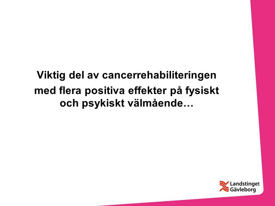 Viktig del av cancerrehabiliteringen med flera positiva effekter på fysiskt och psykiskt välmående…