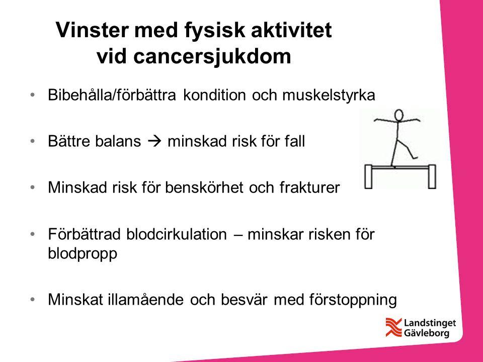 Vinster med fysisk aktivitet vid cancersjukdom