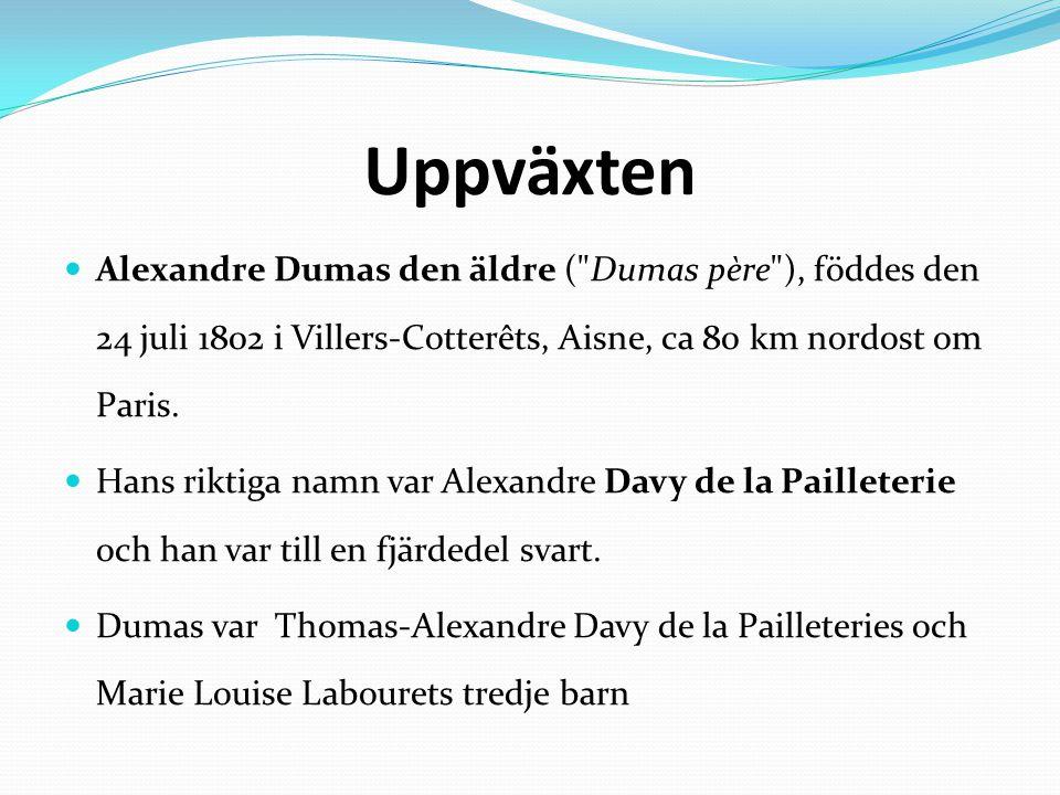Uppväxten Alexandre Dumas den äldre ( Dumas père ), föddes den 24 juli 1802 i Villers-Cotterêts, Aisne, ca 80 km nordost om Paris.