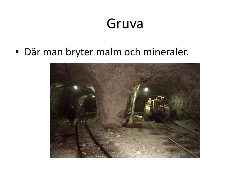 Gruva Där man bryter malm och mineraler.