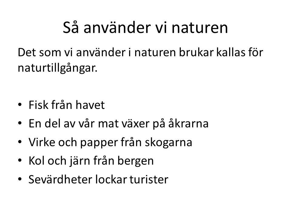 Så använder vi naturen Det som vi använder i naturen brukar kallas för naturtillgångar. Fisk från havet.