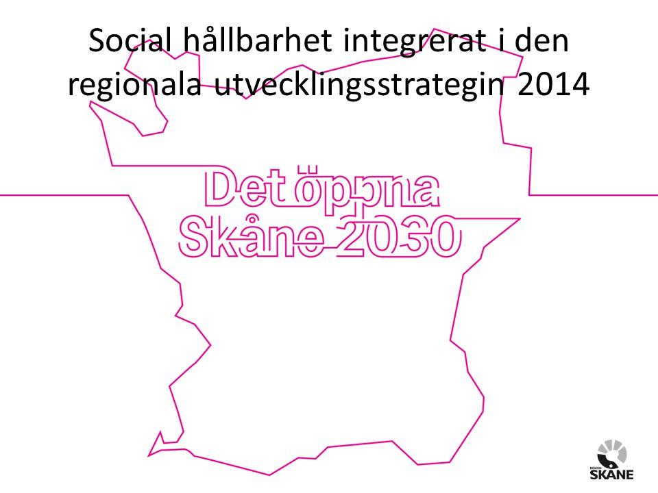 Social hållbarhet integrerat i den regionala utvecklingsstrategin 2014