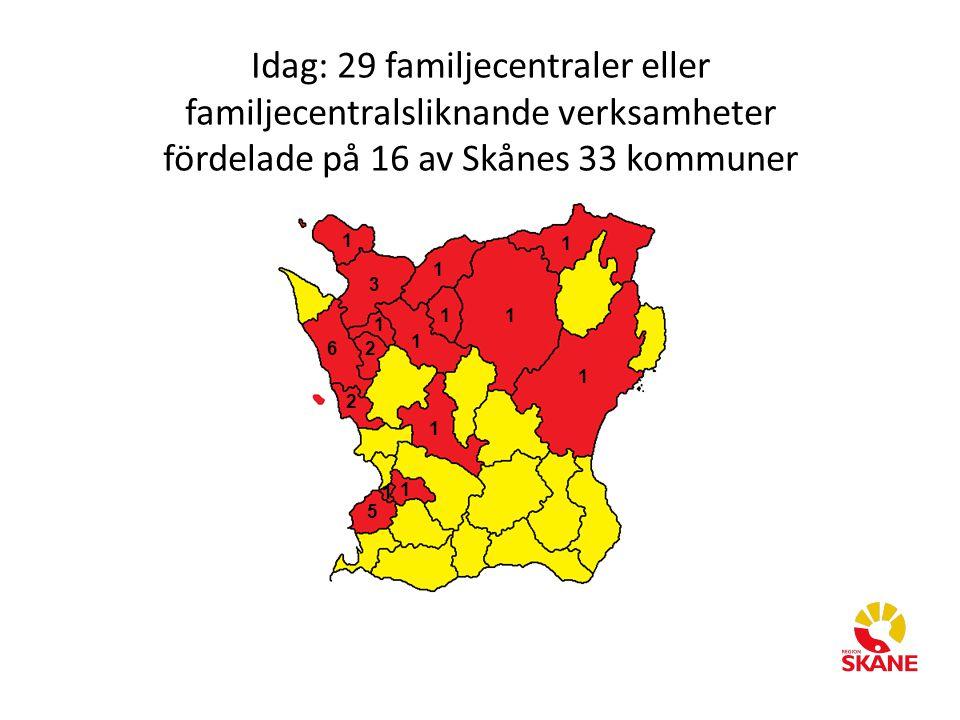 Idag: 29 familjecentraler eller familjecentralsliknande verksamheter fördelade på 16 av Skånes 33 kommuner