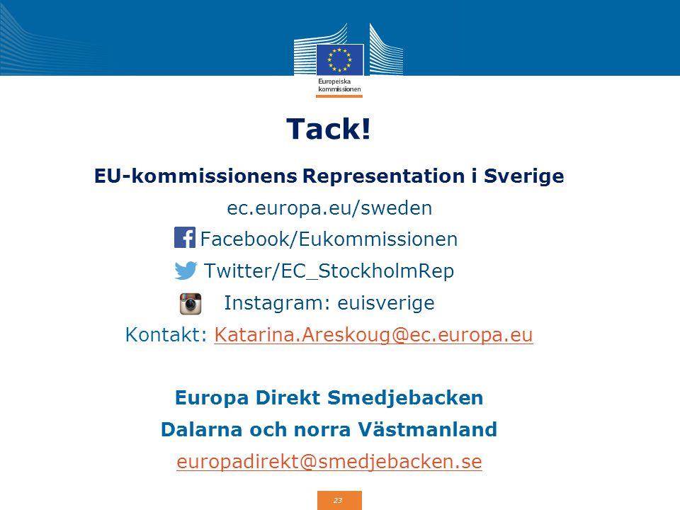 Tack! EU-kommissionens Representation i Sverige ec.europa.eu/sweden