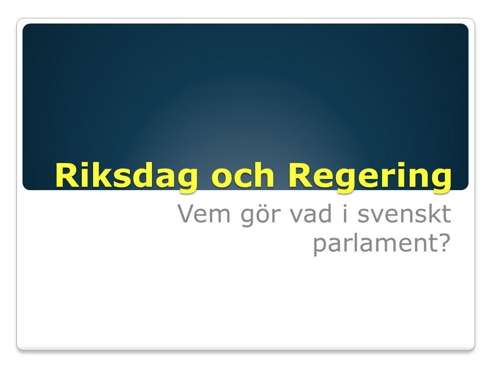 Vem gör vad i svenskt parlament