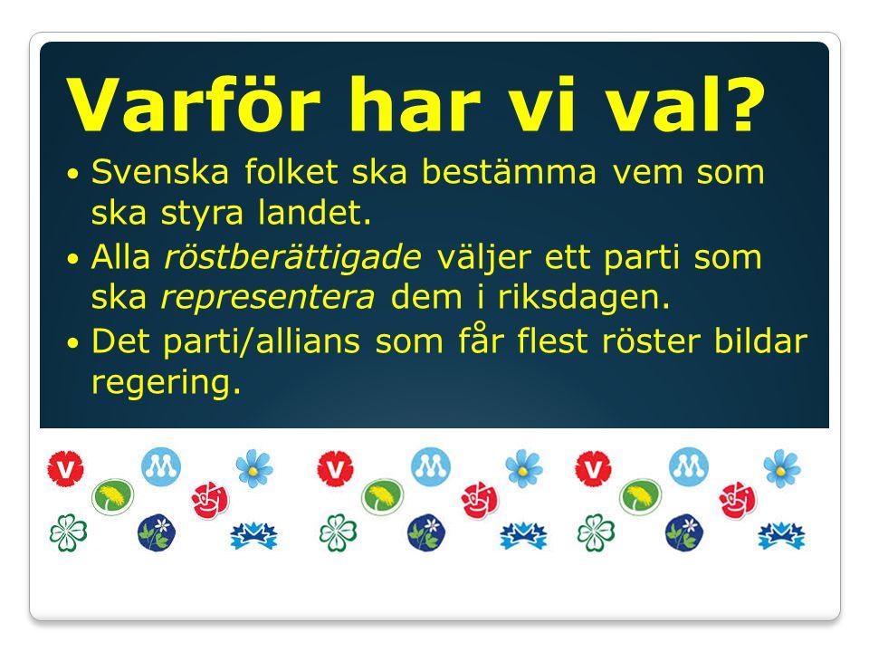 Varför har vi val Svenska folket ska bestämma vem som ska styra landet.