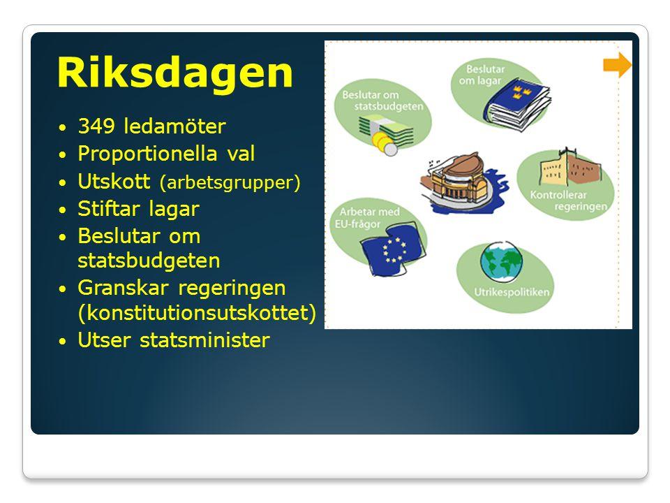 Riksdagen 349 ledamöter Proportionella val Utskott (arbetsgrupper)