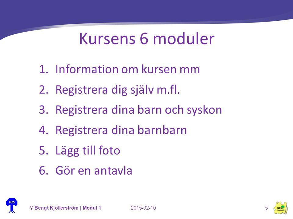 Kursens 6 moduler Information om kursen mm Registrera dig själv m.fl.