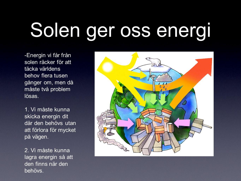 Solen ger oss energi -Energin vi får från solen räcker för att täcka världens behov flera tusen gånger om, men då måste två problem lösas.