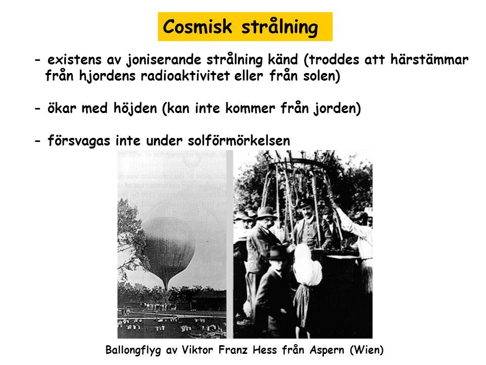 Cosmisk strålning - existens av joniserande strålning känd (troddes att härstämmar. från hjordens radioaktivitet eller från solen)